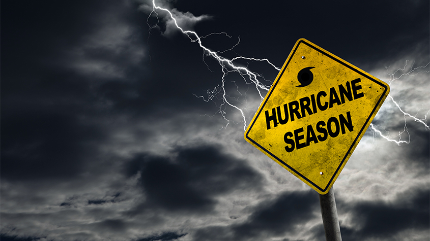hurricane season yellow sign NR