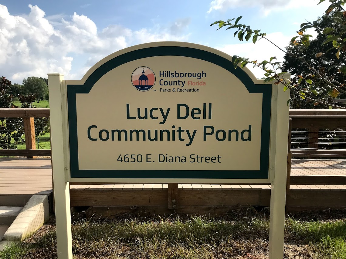Lucy Dell Pond entrance sign