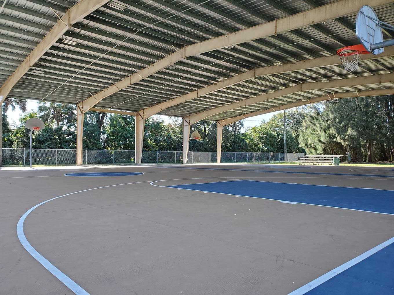 Covered basketball courts at Rusking Rec Center