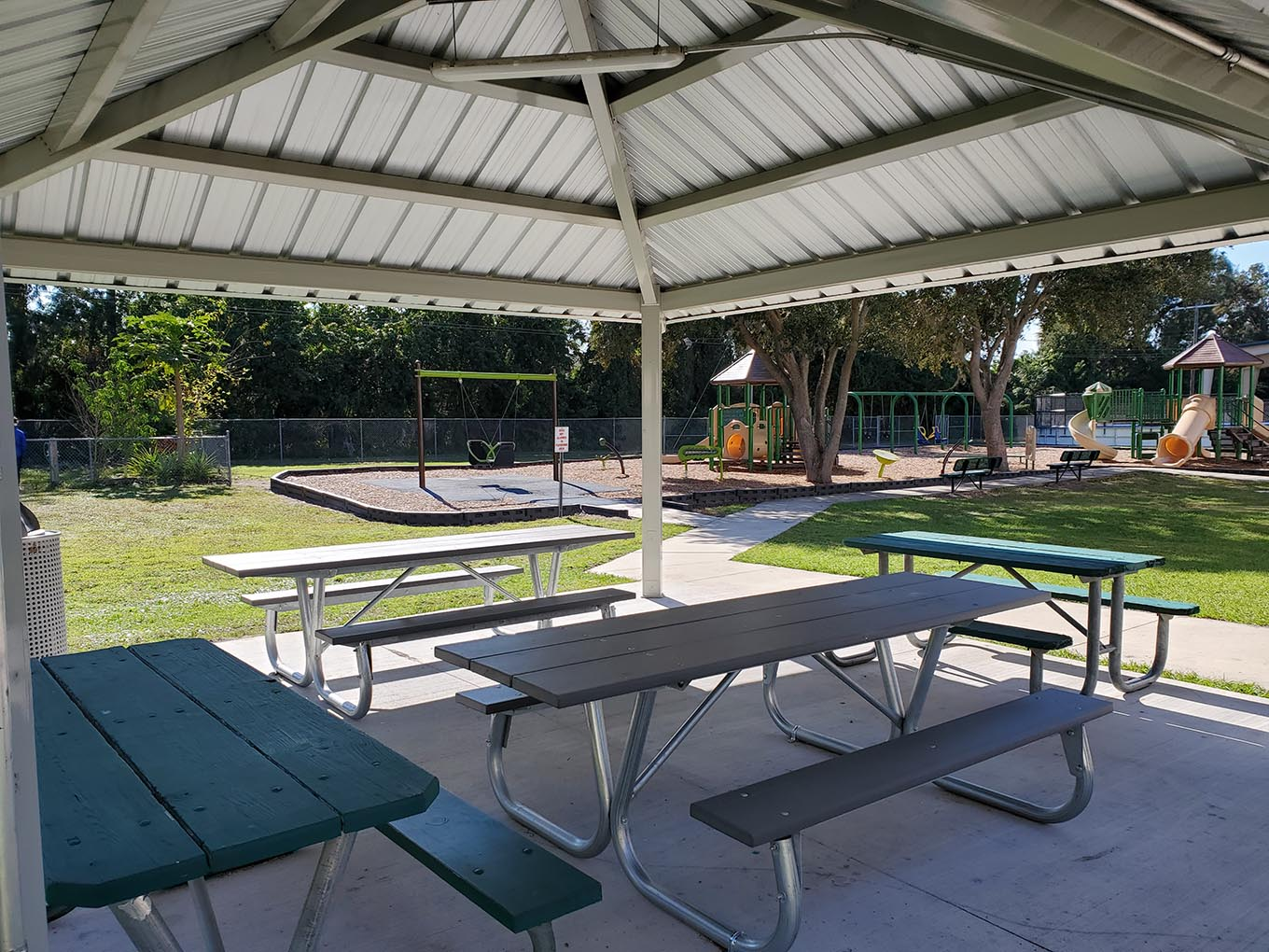 Covered picnic table shelter area, near the playground at Ruskin Rec Center