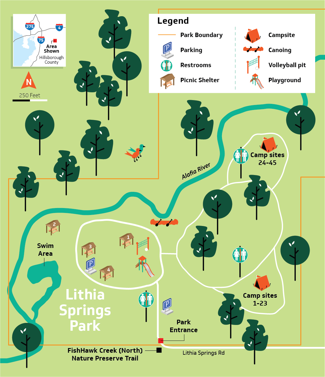 Brandon Beach Florida Map.Hillsborough County Lithia Springs Conservation Park
