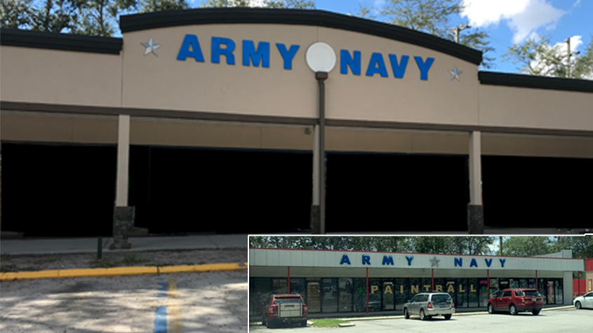 Before and After of an Army Navy Storefront