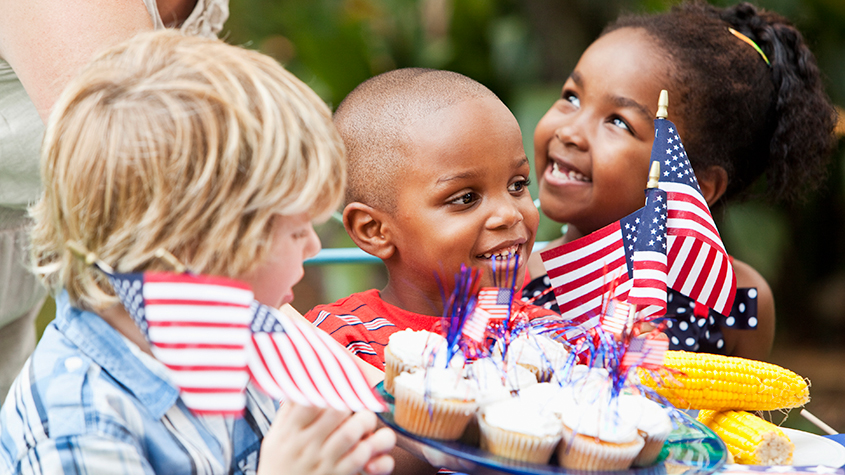 Kids at Fourth of July party
