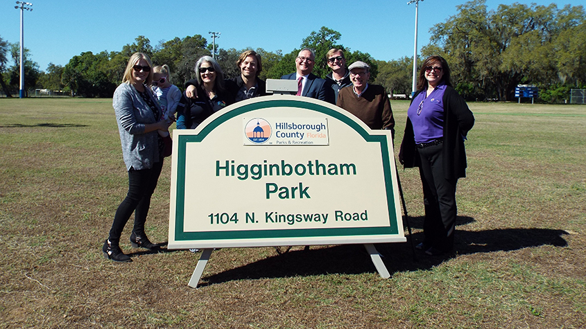 Higginbothom Park renaming ceremony with Commissioner Higginbotham and others