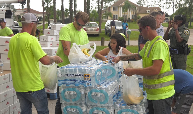 Hurricane Irma disaster relief efforts - food distribution